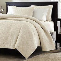 Twin / Twin XL Size Quilted Coverlet Set with One Pillow Sham in Ivory