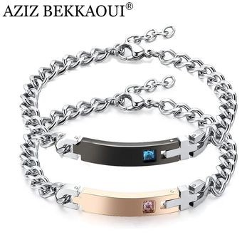 AZIZ BEKKAOUI Customized Couple Bracelets  Crystal Stone Stainless Steel Bracelets For Women Men Jewelry Engrave Name Valentine