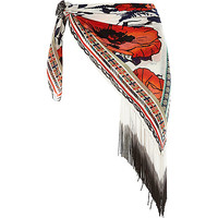 River Island Womens White Pacha printed fringed sarong