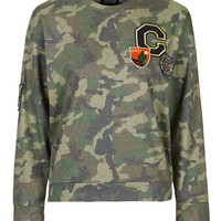 Camo Badge Sweatshirt - Topshop