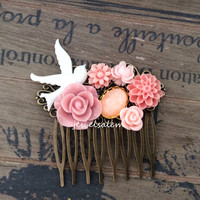 Pink Hair Comb Wedding Bridal Floral Comb Soft Pink Wedding Pastel Color Shabby Chic Vintage Style Pink Peach White Bird Romantic Bohemian