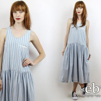 Vintage 90s Pale Blue Striped Midi Dress S M Chambray Dress Striped Dress Blue Dress Minimalist Dress Summer Dress Drop Waist Dress