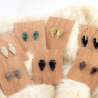 Arrowhead studs flint stone earrings made to order in your color choice