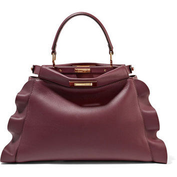 Fendi - Peekaboo medium ruffle-trimmed leather tote