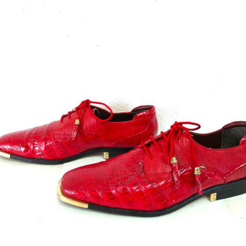 Vintage Miralto Alligator  Red Oxford mens Dress Shoes Size 10 Red