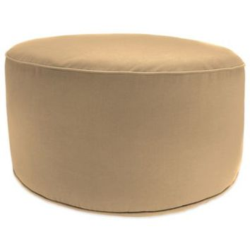 SUNBRELLA® Outdoor Round Pouf Ottoman in Canvas