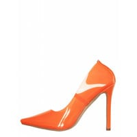 Nova Orange Clear Stiletto Court Shoes : Simmi Shoes