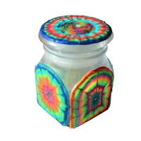 Glow in the Dark, Tie Dye, Pink, Orange, Yellow, Green, Blue, Silver, Hand-Painted Glass Stash Jar
