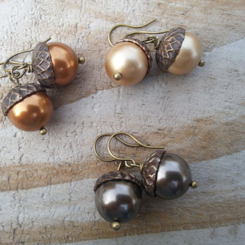 Acorn Dangle Earrings, Fall Fashion, Rustic Jewelry, Autumn, Gift Idea