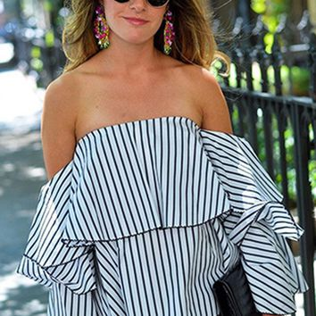 Off Shoulder Short Trumpet Loose Striped Blouses