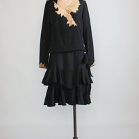 Vintage 1920s Black Silk and Ecru Lace Winter Dress