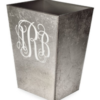 Mike & Ally Eos Monogram Wood Brush Holder, Silver and Matching Items