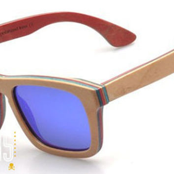 Wood Sunglasses - Eco-Friendly Recycled Skateboard Wood Wayfarer Sunglasses w/ Mirrored Lenses | Hand Made from Recycled Wood