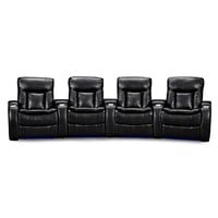 Larson Leather 4 Pc. Power Reclining Home Theater Sectional - Value City Furniture