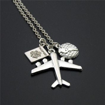 CREYONHS 1pc 2017 Wanderlust Passport Earth Airplane Necklaces & Pendants Silver Travling Jewelry E1020