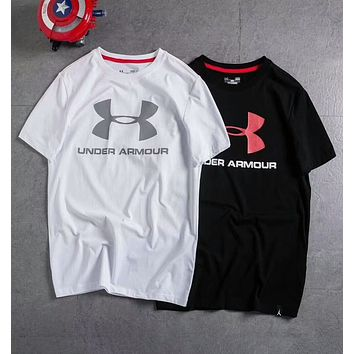 Under Armour Stylish Summer Big Logo Print Comfortable Cotton Short Sleeve Round Collar T-Shirt Pullover Top I-A-BM-YSHY