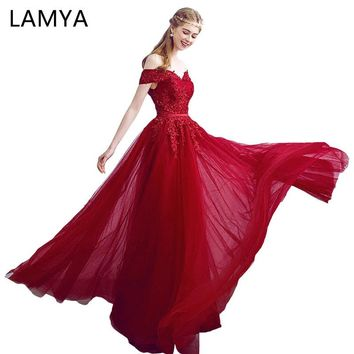 LAMYA 2018 New Arrived Women Beading Long Evening Dresses Elegant Lace Boat Neck Banquet Sexy Formal Party Gown robe de soiree