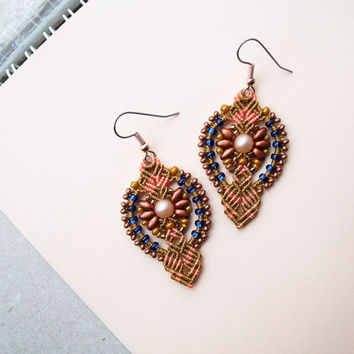 Micro macrame earrings - Tangerine Copper Blue Elegant SuperDuo