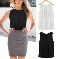 Summer Womens Sleeveless Tropical Tops T-Shirt Chiffon Solid Pleated Blouse S-XL