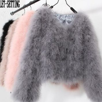 LET-SETTING 20 colors fashion sexy Ostrich wool turkey fur women coat feather short plus size jacket winter festival long sleeve