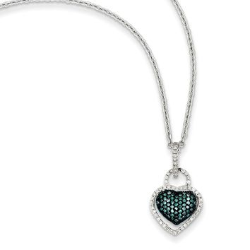 Blue & White Diamond 11mm Heart Necklace in Sterling Silver