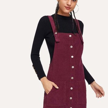 Corduroy Single Breasted Pocket Detail Overall Dress