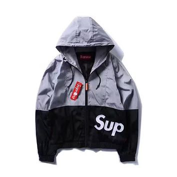 Supreme Women Men Fashion Casual Embroidery Cardigan Jacket Coat Windbreaker