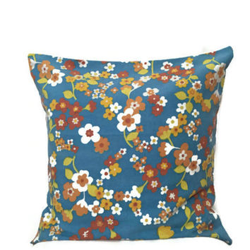 Blue Accent Pillow 16x16 - 60s Fabric Cushion - Floral Pillowcase - Vintage Floral Cushion - Vintage Sheet Fabric - Decorative Throw Pillow