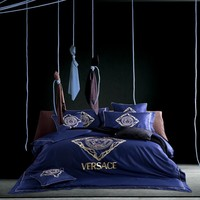 Luxurious Navy Blue Golden Chain Intricate Pattern Versace Symbol Bed Set