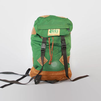 Vintage REI BACKPACK / Large Green Nylon & Leather Bottom Mountaineering Rucksack Hiking Daypack