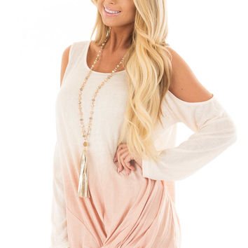 Natural Dip Dye Cold Shoulder Top with Front Twist Detail