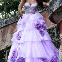 Strapless Floral Applique Ball Gown by Sherri Hill