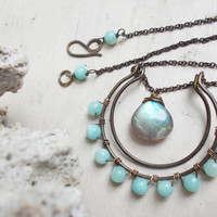 Labradorite briolette horseshoe necklace, amazonite stones, hammered brass double crescent pendant, wire wrapped artisan jewelry