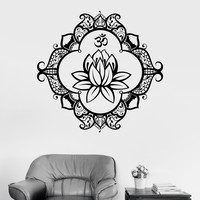 Vinyl Wall Decal Lotus Mandala Ornament Buddhism Bedroom Sticker Unique Gift (ig3454)