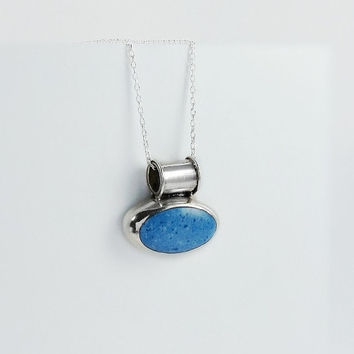"Blue Stone Pendant Necklace - Speckled Blue Gemstone Pendant - 20"" Sterling Necklace - Mexican Silver Pendant Necklace"