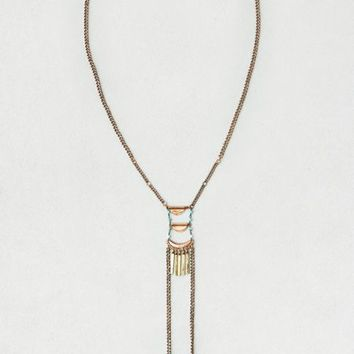AEO Women's Turquoise Bead Bolo Necklace (Rose Gold)