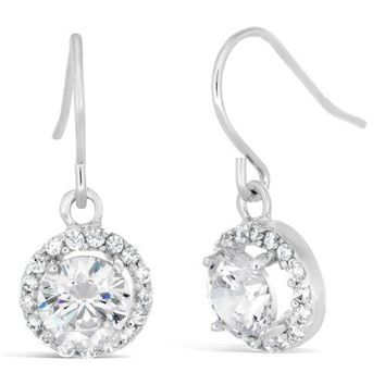 Sterling Silver Round Halo Cubic Zirconium Fish Hook Earrings