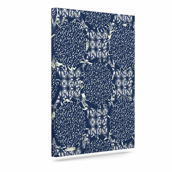 "Laura Nicholson ""Indigo Lattice"" Blue Pattern Canvas Art"