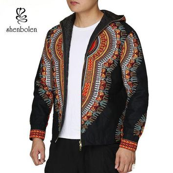 ICIKION Fashion Men Hoodies Cotton Autumn Winter Coat Long Sleeve African Black Dashiki Print Casual Zipper Hooded Sweatshirt Man Jacket