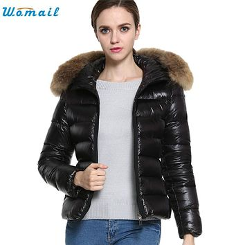 Wonderful New Winter Women's Down Cotton Parka Short Fur Collar Hooded Coat Quilted Jacket Plus Size Dce 23