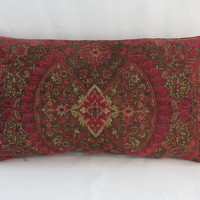 """Red and Brown Chenille Pillow, Large 13 x 24"""", Tapestry Medallion Carpet Style, Heavy & Soft, Vintage Look, Optnl Feather Insert, Only ONE"""