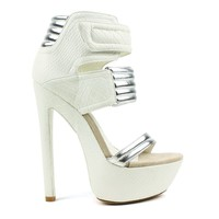 Fahrenheit Fiona-05 Textured Snake High Heel Platform Pump in White @ ippolitan.com