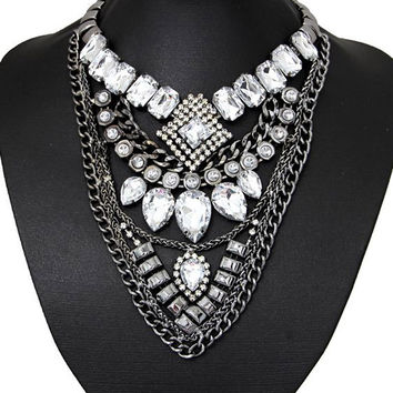 Silver Geometric Rhinestone Statement Chain Necklace