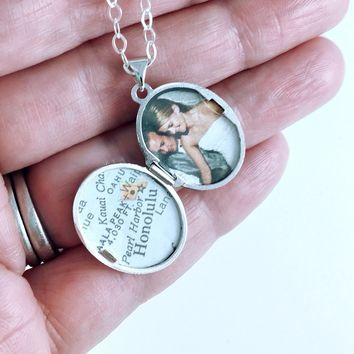 Love You Always Sterling Silver Locket with Vintage Map and Photo