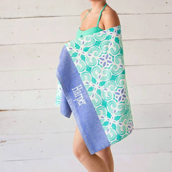 Embroidered Monogrammed Beach Towels. Great gift idea. Perfect for trips