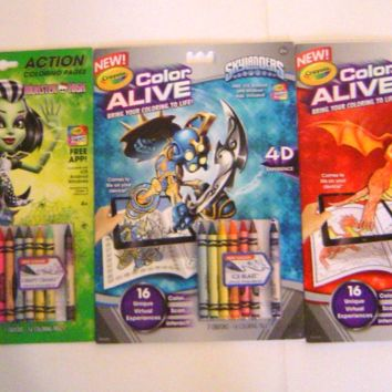 Three Crayola Color Alive Books Mythical Creatures,Skylanders, Monster High