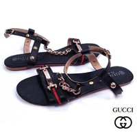 GUCCI Women Casual Stripe Flats Sandals Shoes