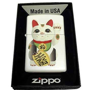 Zippo Custom Lighter - LUCKY JAPANESE Maneki Neko Beckoning Cat - Regular White Matte