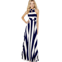 ONE FOR ALL striped Women Maxi Dress Sexy Beach Party Dresses Bodycon One Piece Woman Maxi Casual Dresses