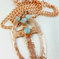 Copper Metal Hammered Cross Pendant Wire Wrapping with Swarovski Pacific Opal Crystal Copper Link Necklace   dianesdangles - Jewelry on ArtFire
